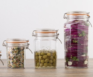 Facetted Clip Top Jars