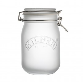 WHITE FROSTED CLIP TOP JAR 34 FL OZ