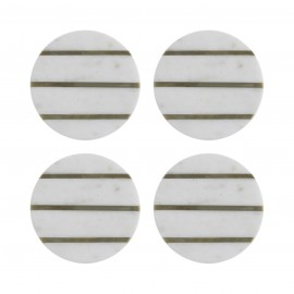 ELEMENTS MARBLE/BRASS SET OF 4 ROUND COASTERS