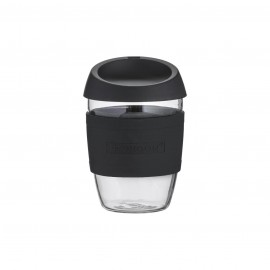 GLASS REUSABLE COFFEE CUP BLACK 13.5 FL OZ