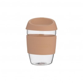 GLASS REUSABLE COFFEE CUP PINK 13.5 FL OZ
